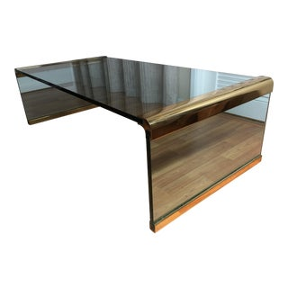 Pace Collection by Leon Rosen Glass and Brass Waterfall Coffee Table For Sale