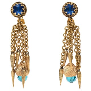 Vintage Gold Plated & Crystal Chain Dangle Clip on Earrings For Sale