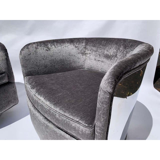 1970s Restored Milo Baughman Chrome Back Barrel Chairs - a Pair For Sale - Image 5 of 8