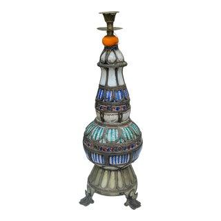 Antique Ceramic & Filigree Candleholder For Sale