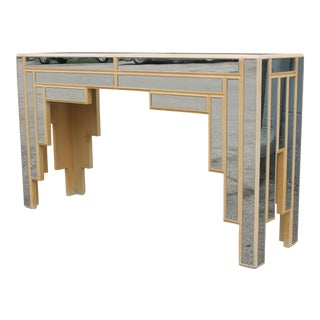 1960s Art Deco Style Fully Mirrored Console Table For Sale