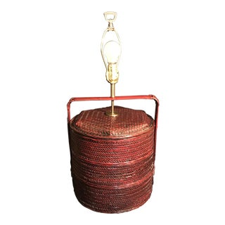 Asian Wicker Rice Basket Table Lamp For Sale