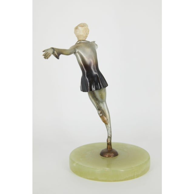 Art Deco Art Deco Cold-Painted Silvered Dancer Sculpture For Sale - Image 3 of 6