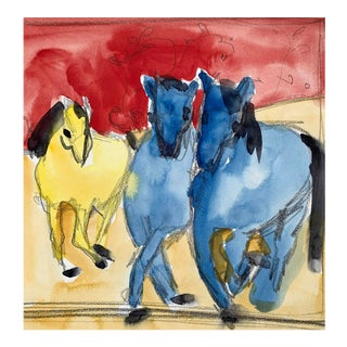 Three Horses Blue and Yellow For Sale