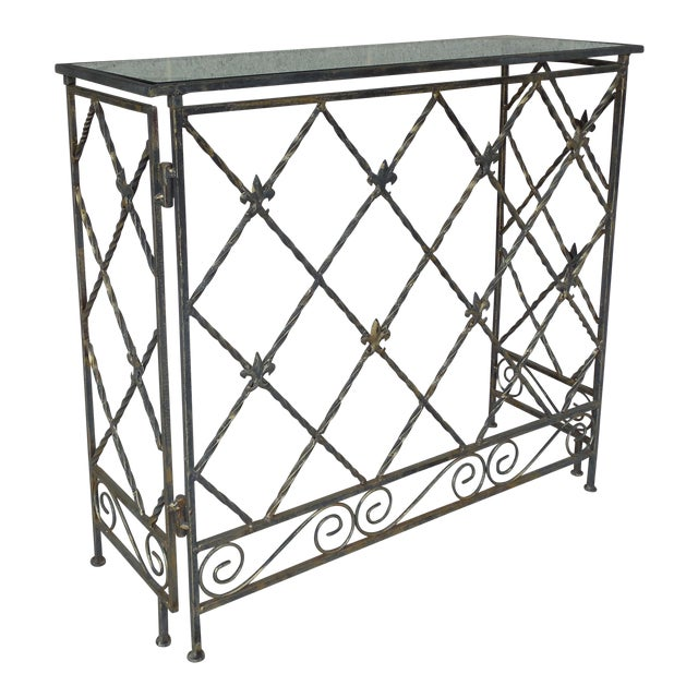 "Designer French Style Heavy Wrought Iron Glass Top Console 35""w X 12""d For Sale"