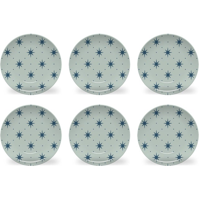 Chairish x The Muddy Dog Stars Outdoor Plates, Mist, Set of 6 For Sale - Image 4 of 4