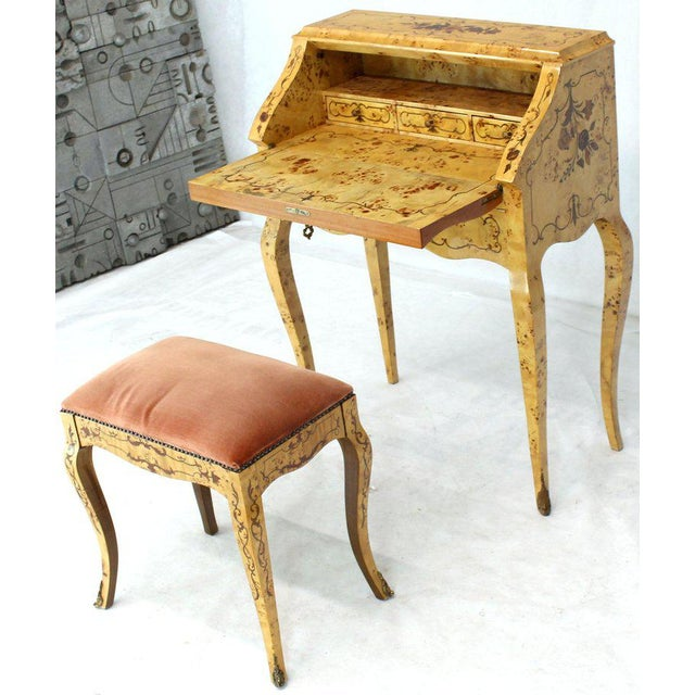 Fine petit small compact burl wood inlay secretary drop front desk with matching velvet upholstery bench. Signed and...