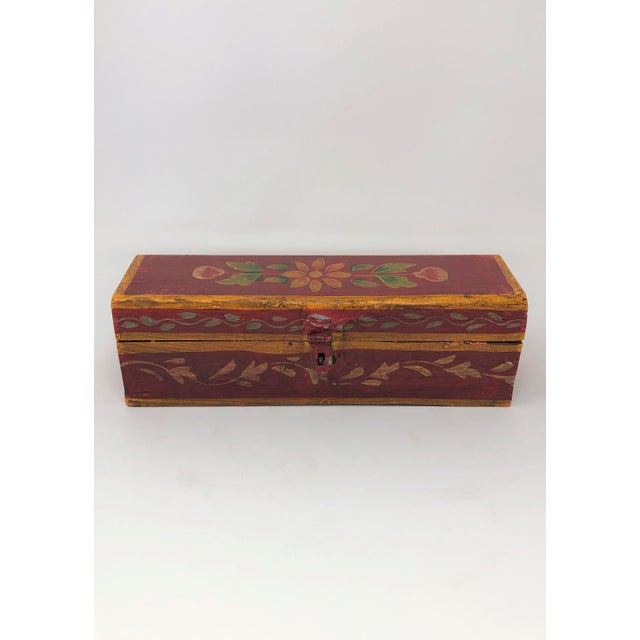 Antique Indian Painted Wooden Boxes - Set of 3 For Sale - Image 4 of 7