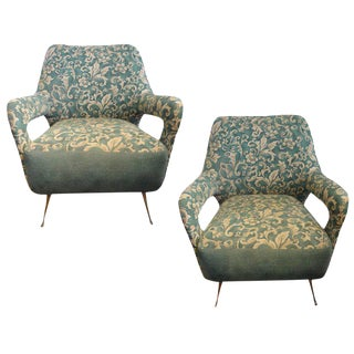 1960s Vintage Italian Gio Ponti Style Lounge Chairs- A Pair For Sale