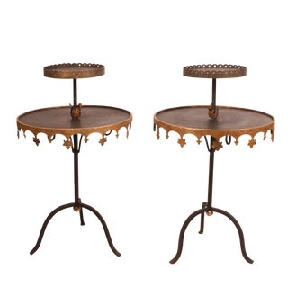 Circa 1950 Vintage Tole Tables - A Pair