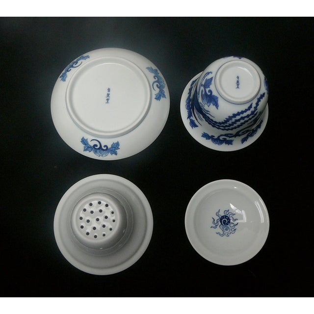 Chinese Blue & White Porcelain Dragon Tea Set For Sale - Image 4 of 4
