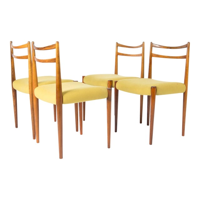 1960s Yellow Fabric Rosewood Danish Modern Chairs- Set of 4 For Sale