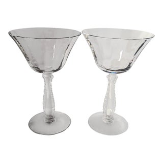 Vintage Clear Crystal Cocktail Glasses - a Pair