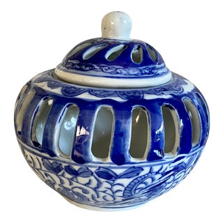 Chinese Blue & White Pierced Box For Sale