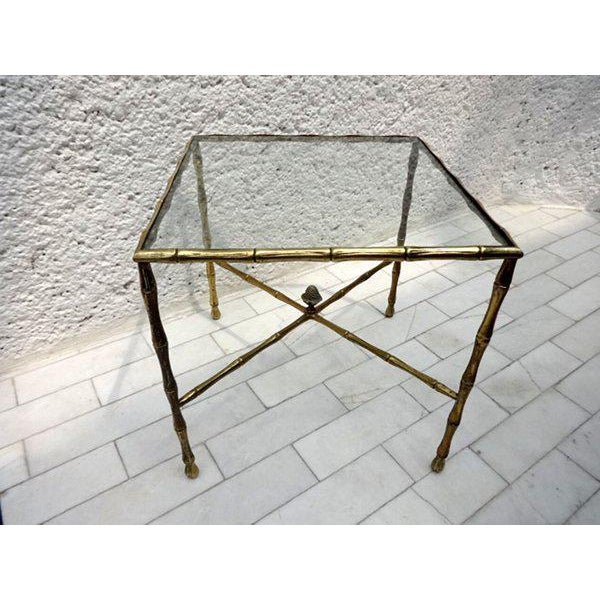 Hollywood Regency Custom Faux Bamboo Brass Side Table by Arturo Pani For Sale - Image 3 of 5
