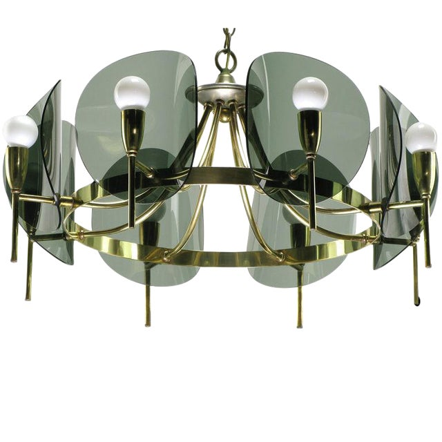 Brass & Smoked Acrylic Eight Arm Chandelier For Sale