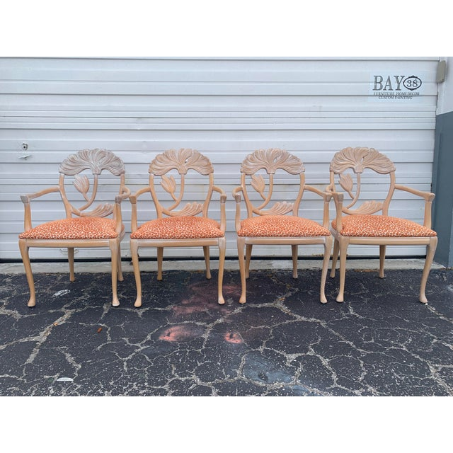 1970s Vintage Lime Wash Floral Carved Dining Chairs in the Manner of Phyllis Morris - Set of Four For Sale - Image 9 of 10