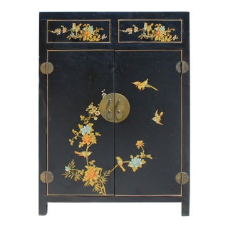 Chinese Black Color Flowers & Birds Veneer Leather Side Table Shoes Cabinet For Sale