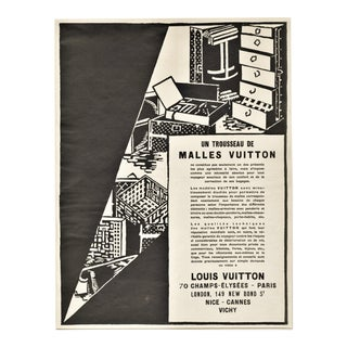 Rare Matted 1926 Art Deco Graphic Vuitton Trunks Print For Sale