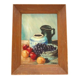 Vintage Oil Painting Still Life - Fruit & Pottery by C. Sheedy For Sale
