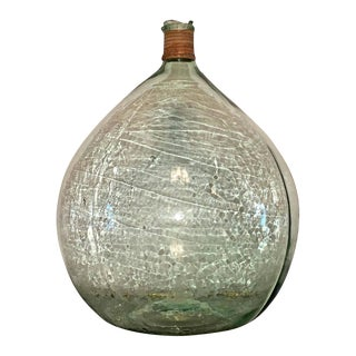 Mid Century Modern Vintage Argentine Handblown Light Green Glass Demijohn Wine Bottle