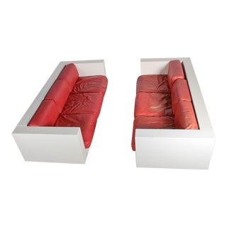 Massimo Vignelli for Poltronova Saratoga Red Leather Sofas - a Pair
