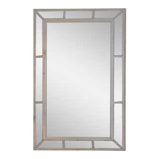 19th Century Grey Painted Paneled Mirror For Sale