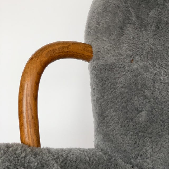 Philip Arctander for Paustian Gray Sheepskin Upholstered Lounge Chairs - a Pair For Sale - Image 10 of 13