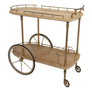 Aldo Tura Parchment Bar Cart Drinks Trolley For Sale