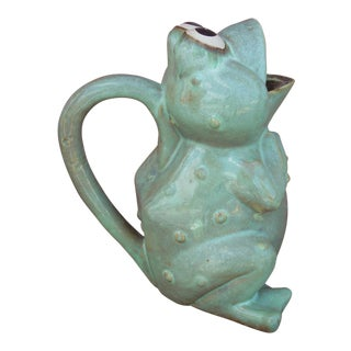 Aqua Green Ceramic Frog Pitcher