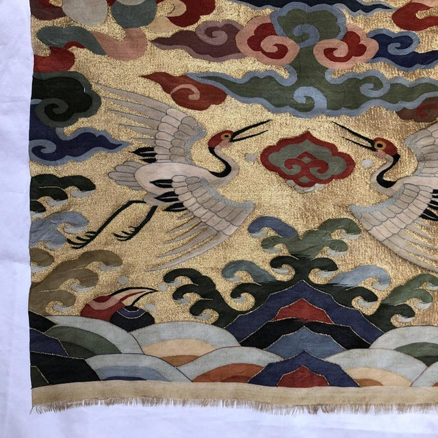 Antique Chinese Kesi Silk Tapestry Weave Chair Cover Panel Fabric For Sale - Image 12 of 13
