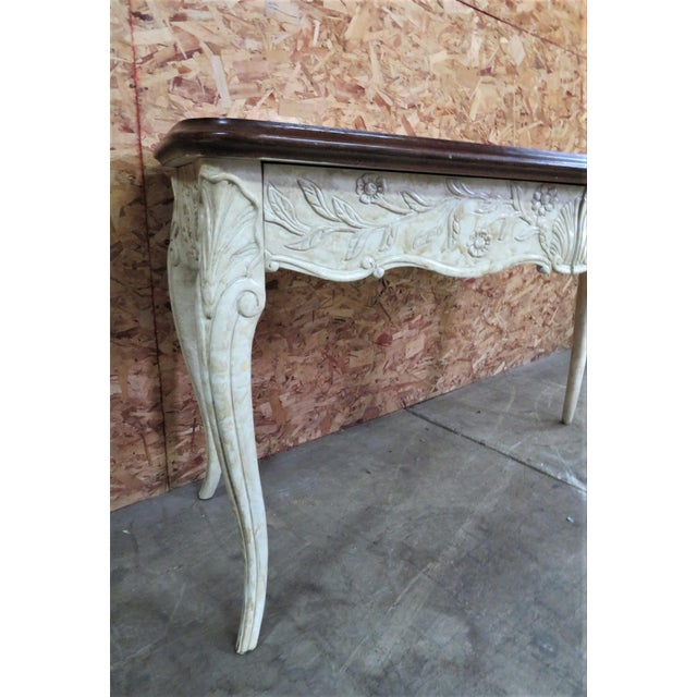 French Style Faux Painted Carved Console Table For Sale - Image 4 of 6