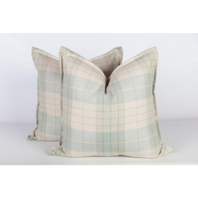 None Sea Foam and Cream Plaid Pillows, a Pair For Sale - Image 4 of 5
