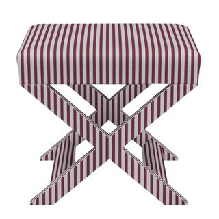 X Bench in Lacquered Fairfield Stripe For Sale