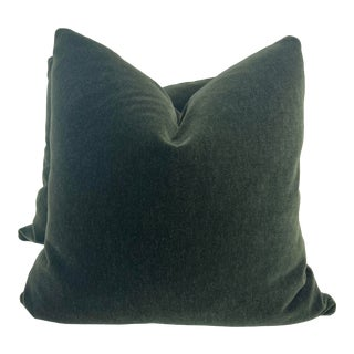 """Scalamandre' """"Neva Mohair"""" in Bayleaf 22"""" Pillows-A Pair For Sale"""