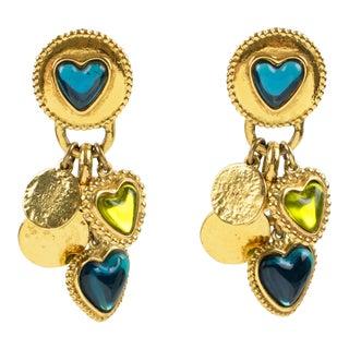 Yves Saint Laurent Ysl Gilt Metal Clip Earrings Green Blue Dangle Heart Charms For Sale