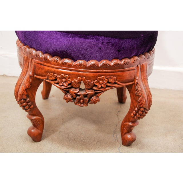 Anglo-Raj Carved Wood Side Lounge Chairs - a Pair For Sale - Image 9 of 13