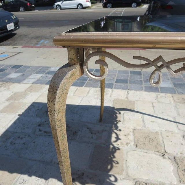 Gold Églomisé Mirrored Game Table in the Manner of Rene Drouet For Sale - Image 8 of 9
