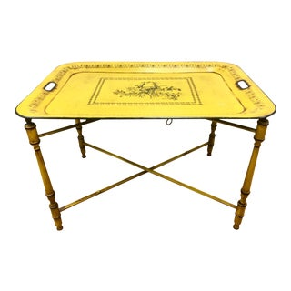 Tole Signed Butler Table Made in Italy Numbered Harvest Yellow Removable Tray For Sale