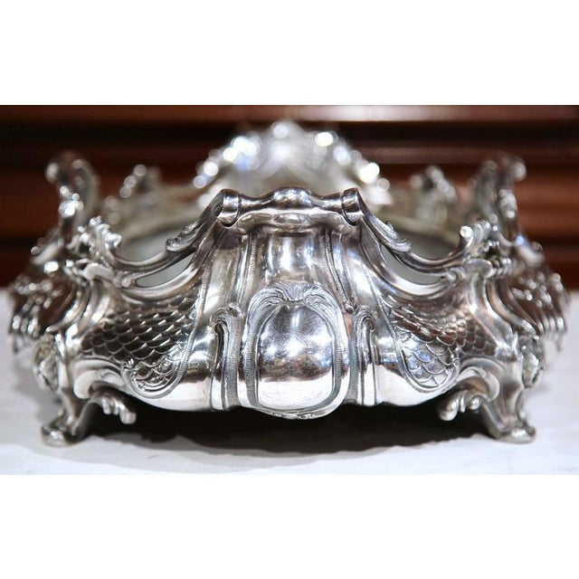 Large 19th Century French Louis XV Oval Silver Plated Jardinière With Zinc Liner For Sale - Image 4 of 9