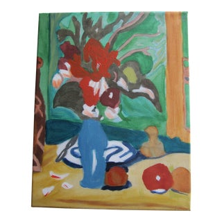 Acrylic Still Life of Fruit and Flowers For Sale