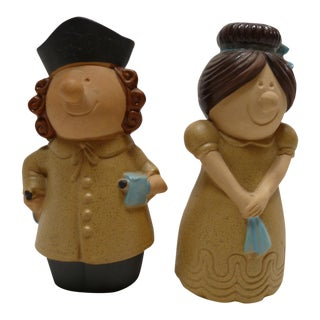 Pair of Charming Male and Female Salt and Pepper Shakers For Sale