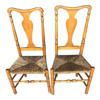Late 18th Century Country Queen Anne Chairs- A Pair For Sale