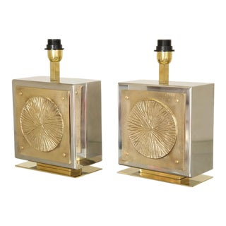 Pair of Italian Brass and Nickel Table Lamps For Sale