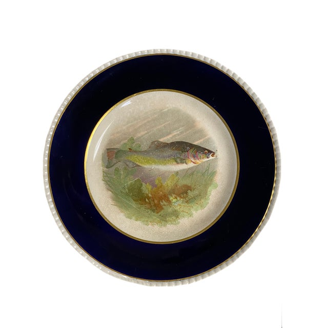 English 1940s Black and White English Fish Plates - Set of Four For Sale - Image 3 of 7