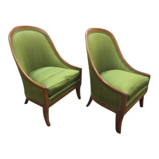 Vintage Mid Century Modern Michael Taylor for Baker Slipper Chairs- Pair For Sale