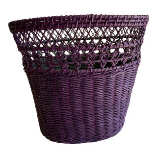 Purple Wicker Wastebasket For Sale