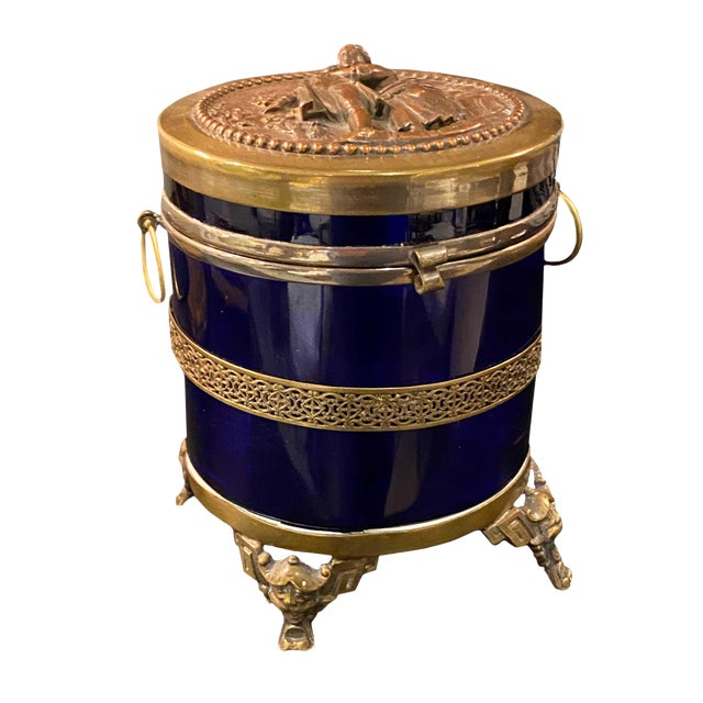 Antique Royal Blue Glass Trinket Box For Sale