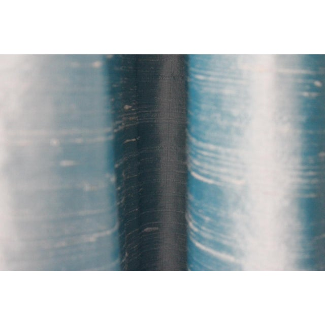 Silk Beacon Hill/Robert Allen Chambray Blue 100% Silk Drapes - 8 Panels For Sale - Image 7 of 8