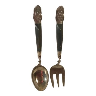 Vintage Korean Rosewood and Brass Salad Set For Sale